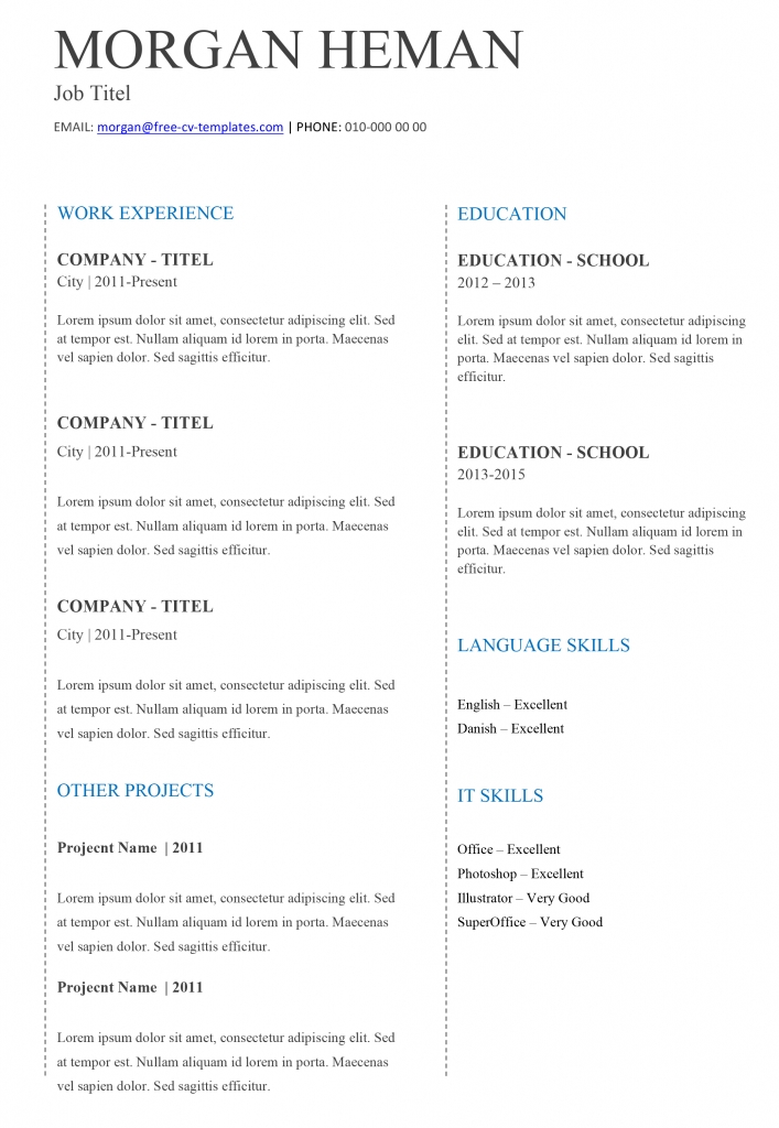 Basic CV templates for Word | Land the job with our free