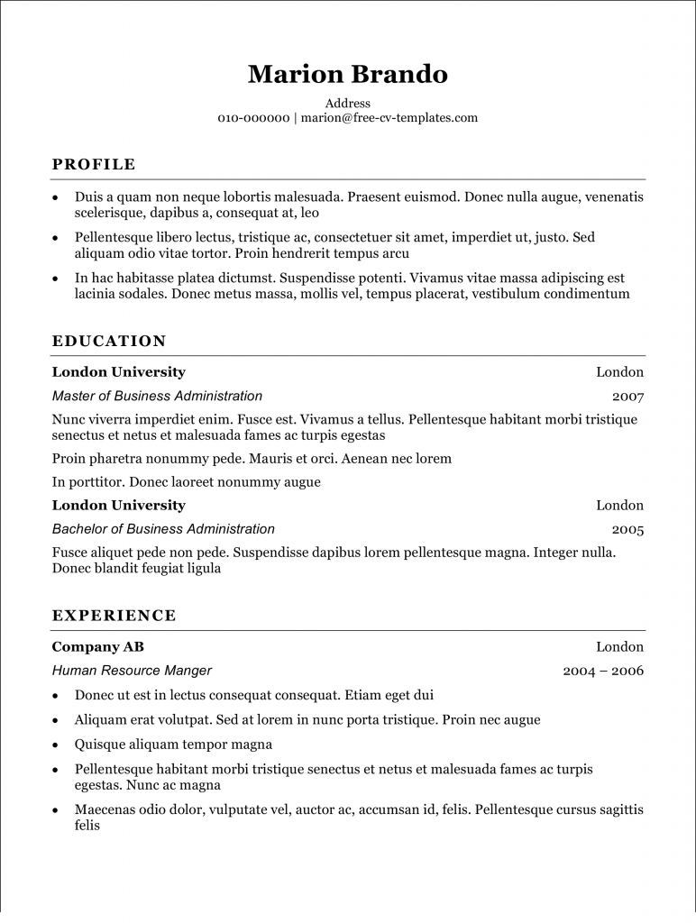 basic cv templates for word