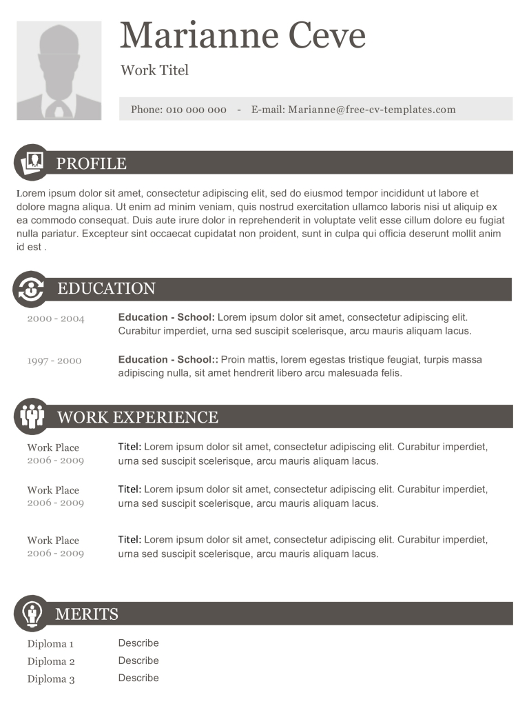 Free Photo Resume Templates