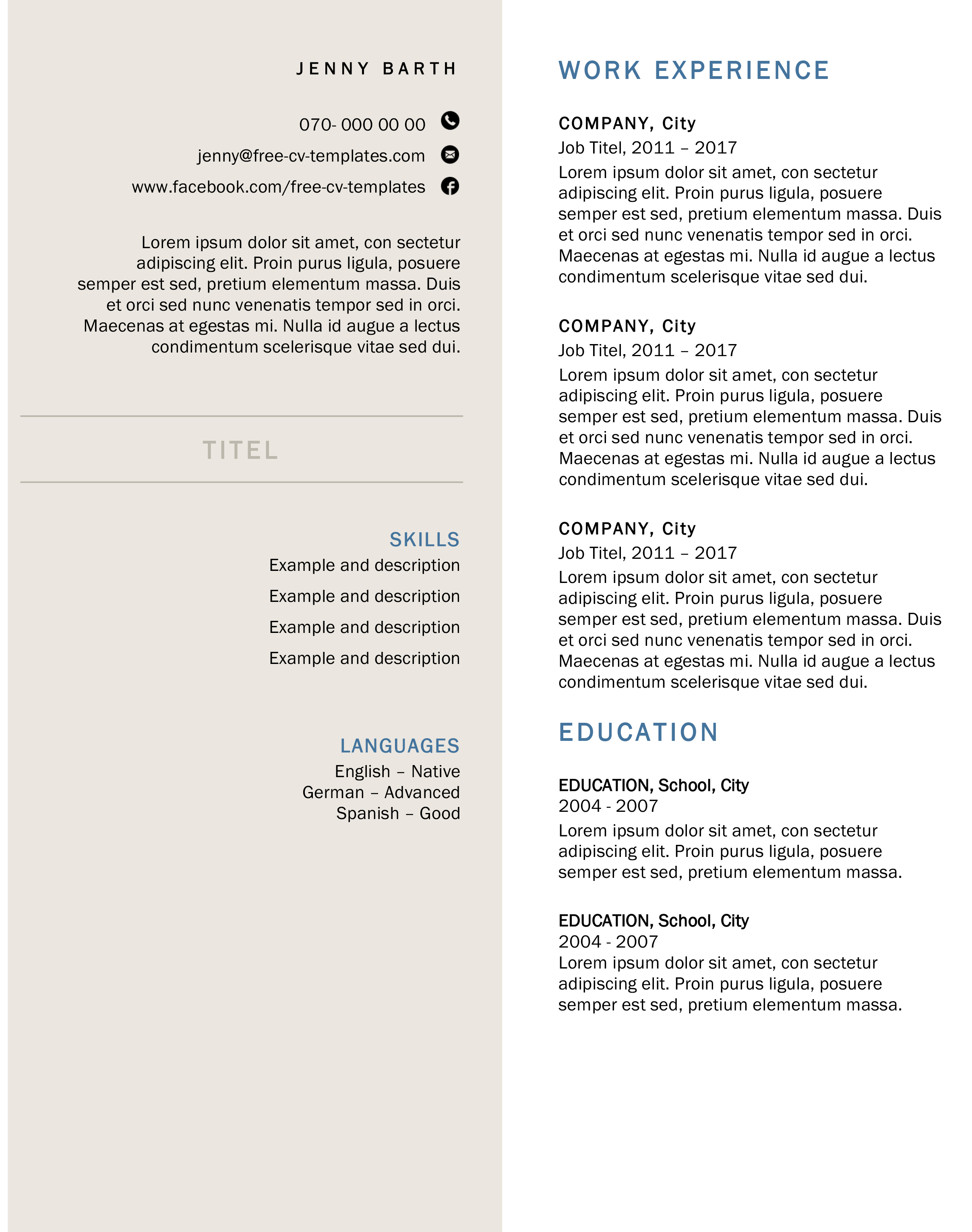 creative and formal cv for free