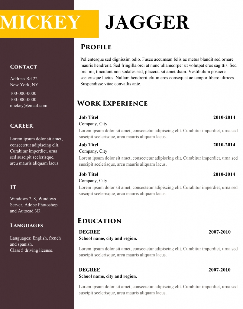 free modern cv and resume templates
