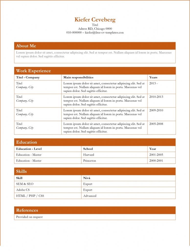 free resume template - Free Cv Templates In Word