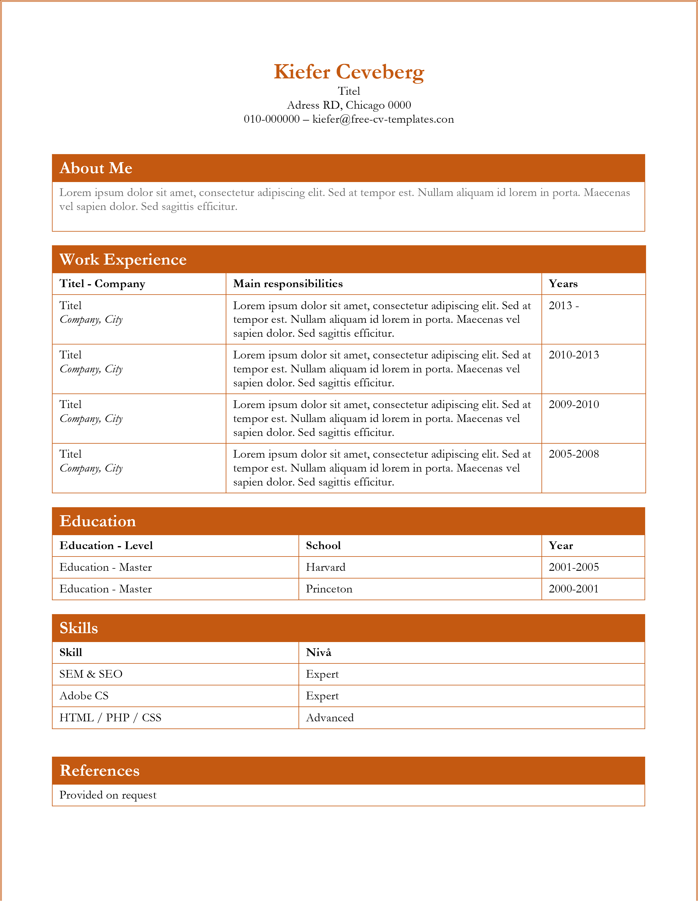 free resume template - Free Usable Resume Templates