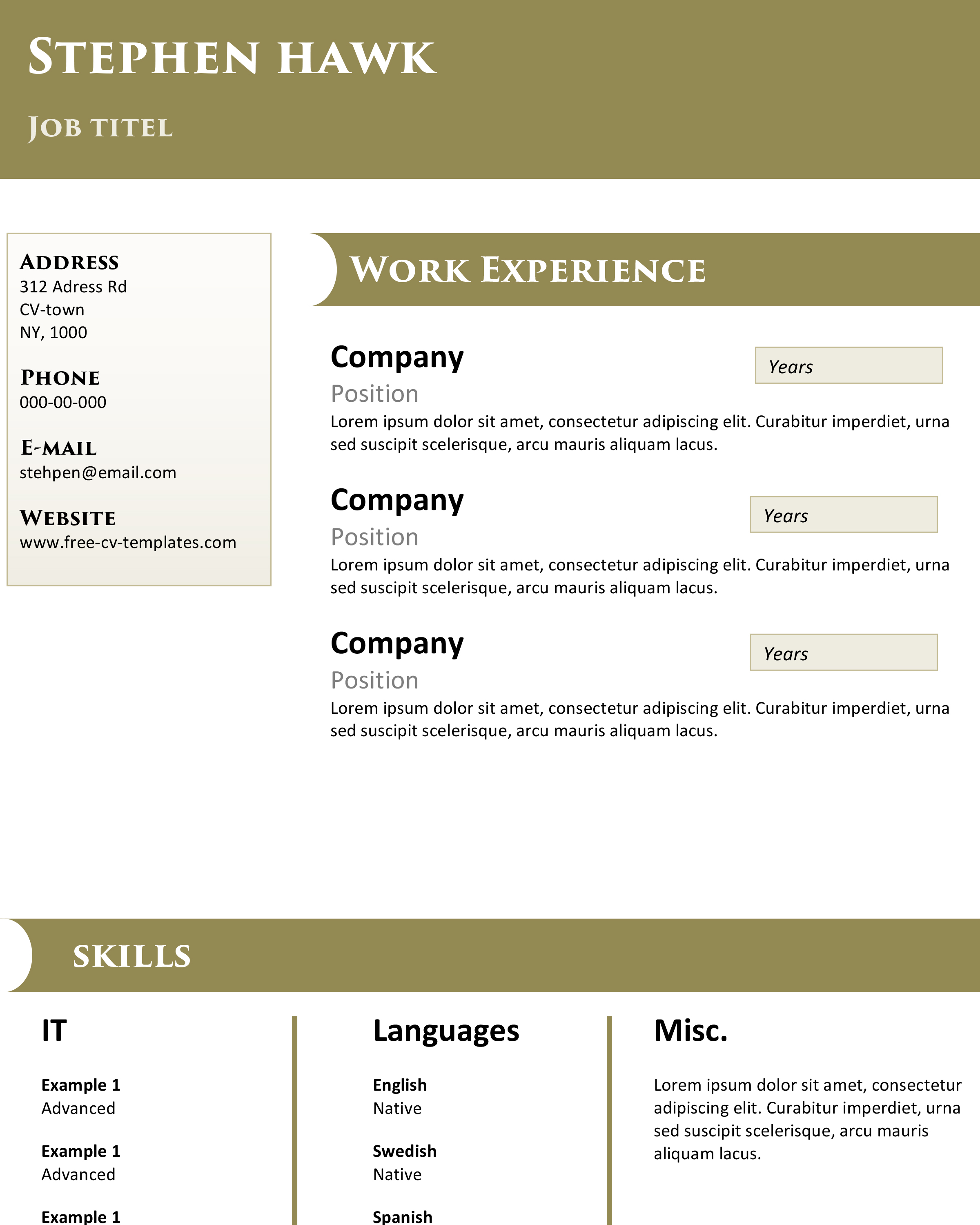 ... Templates/Top Notch. Free CV  Top Notch Resume