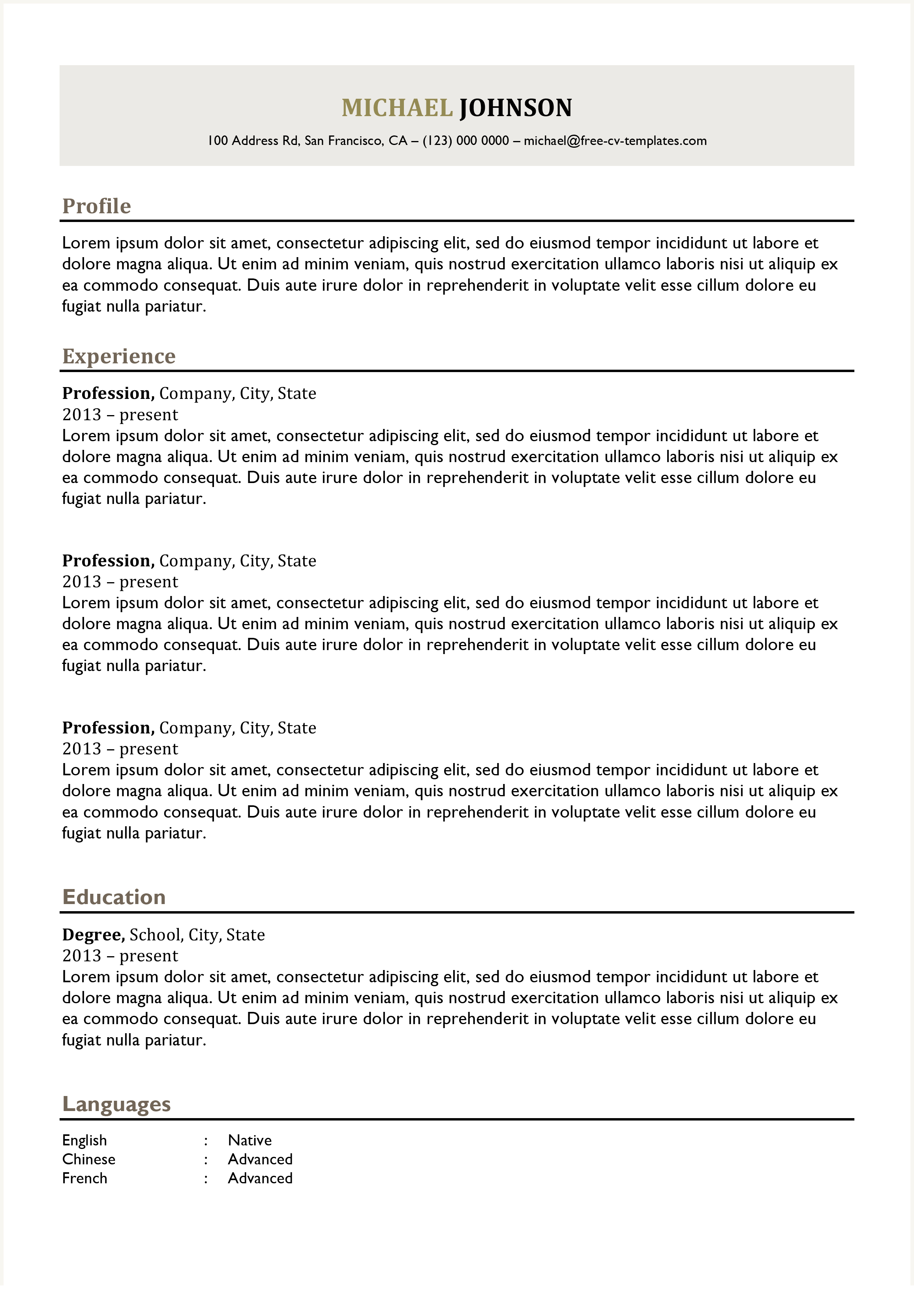 Traditional CV Templates | Land the job with our free Word ...