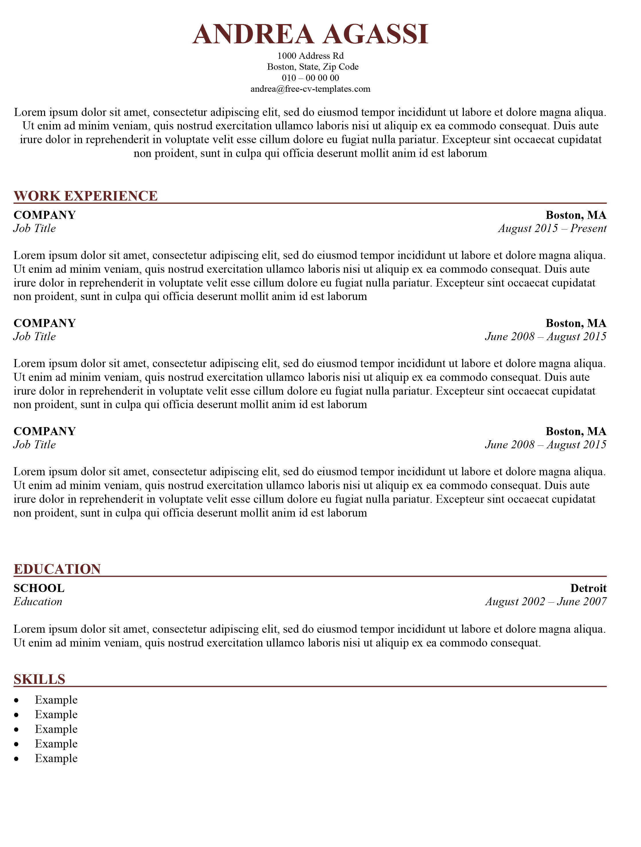 traditional cv template