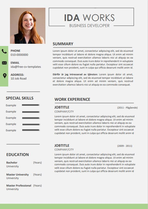 Classic and modern CV template